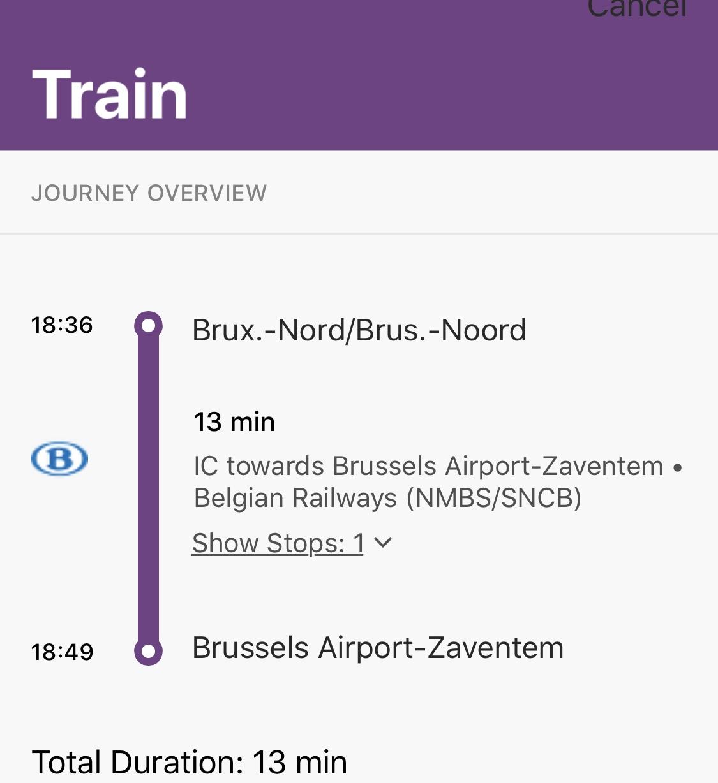 De Bruselas al Aeropuerto de Zaventem