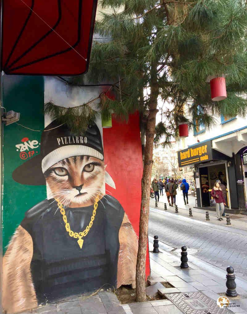 Street art, gatas en Estambul