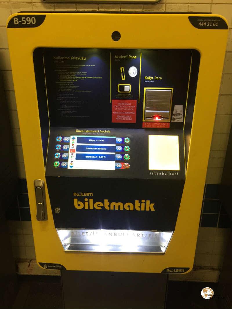 Máquina expendedora, transporte público en Estambul