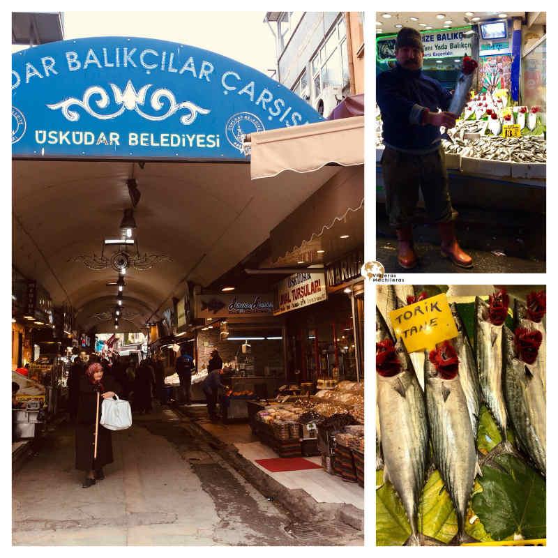 Lonja de pescado en üskïdar, la parte asíatica de Estambul